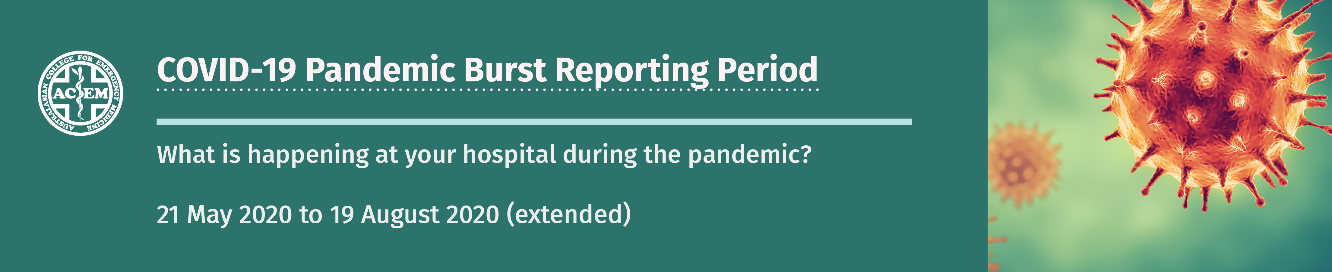 COVID-19 Pandemic Burst Reporting Period: What is happening in your hospital during the pandemic? 21 May 2020 to 19 August 2020 (extended)